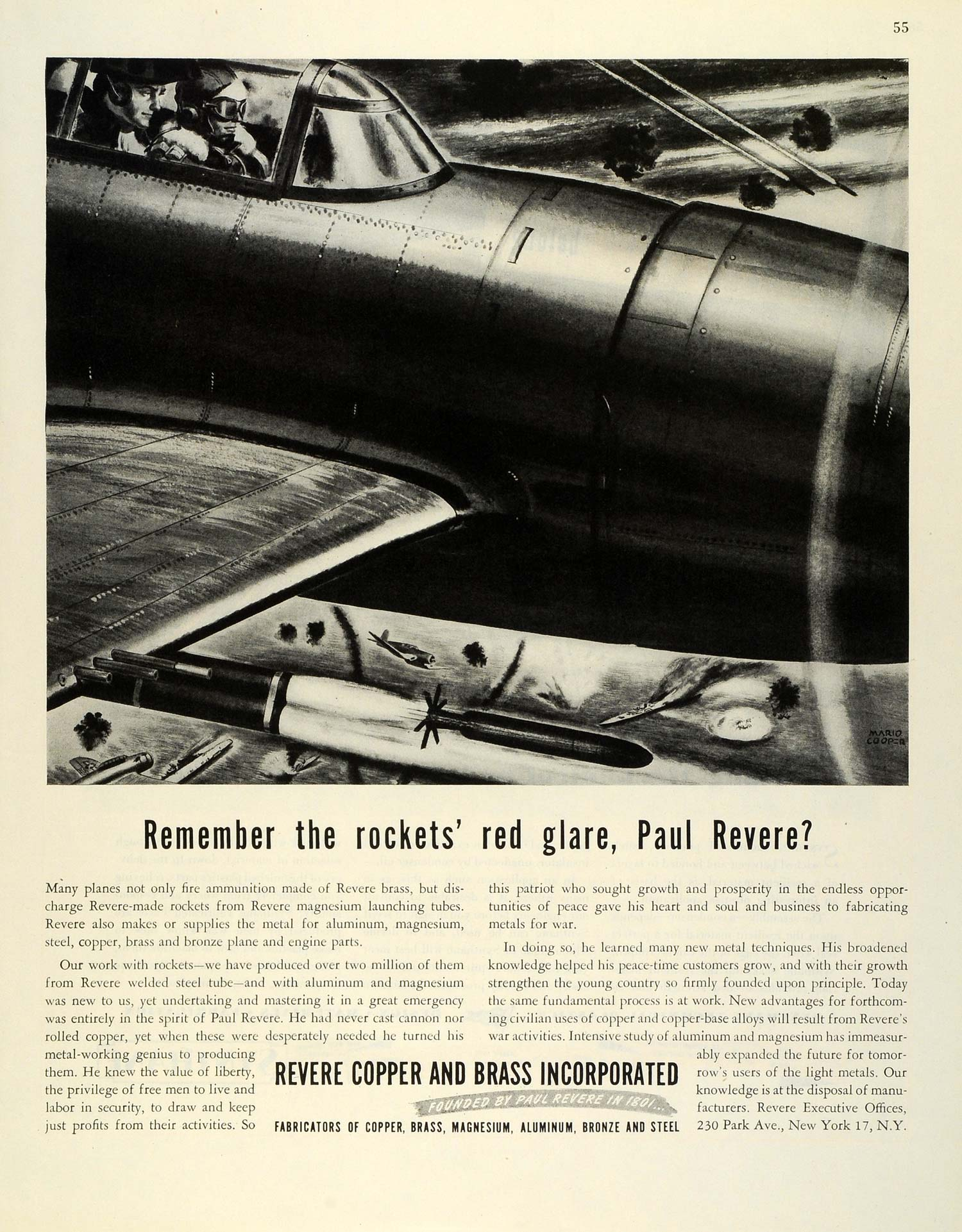1945 Ad Revere Copper Brass Rockets WWII Bomber Plane Aircraft WWII Combat FZ8