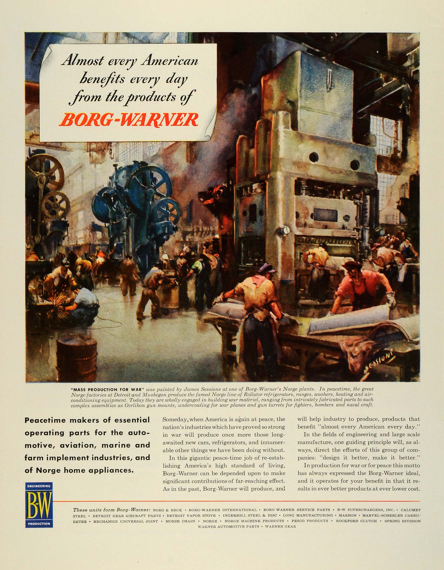 1945 Ad Borg-Warner WWII B-W Operating Parts Line Production Workers Norge  FZ8