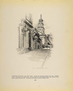 1913 Print Drawing City Clock Tower Vernon Howe Bailey ORIGINAL HISTORIC GAC1