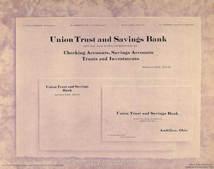1913 Print Trust Savings Bank Letterhead Business Card - ORIGINAL GAC1