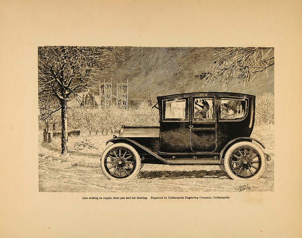 1913 Print Antique Enclosed Automobile Car Auto Winter ORIGINAL HISTORIC GAC1