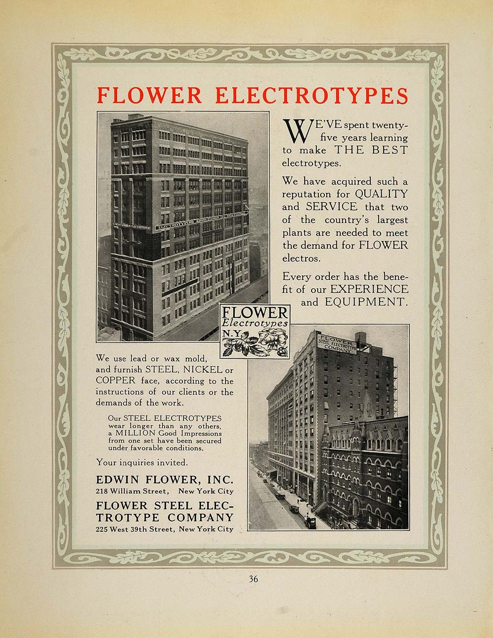1913 Ad Edwin Flower Steel Electrotype Building NYC - ORIGINAL ADVERTISING GAC1