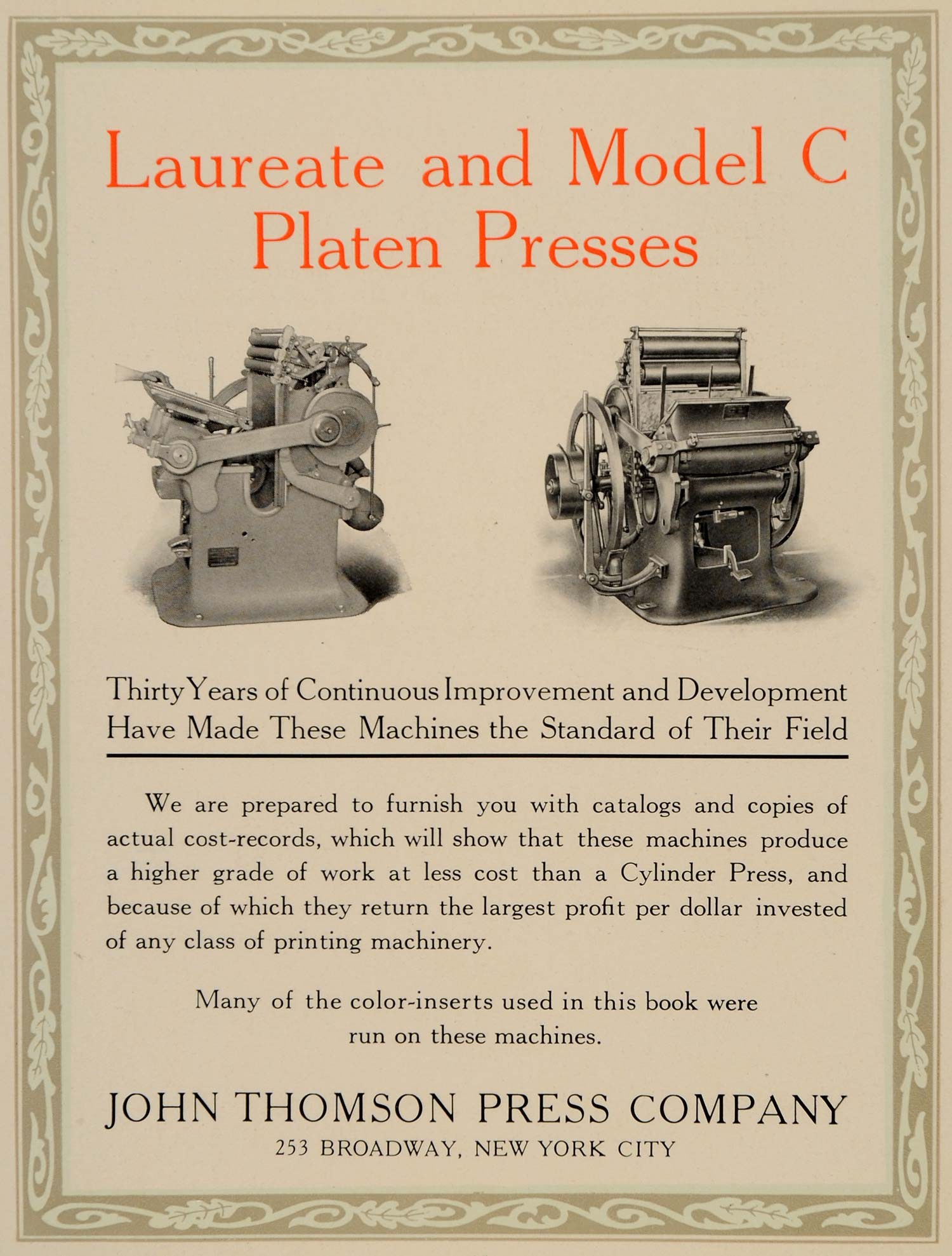 1913 Ad Vintage Laureate Model C Platen Printing Press - ORIGINAL GAC1