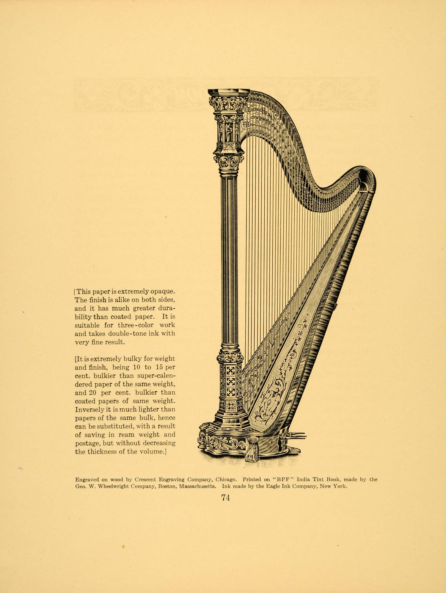 1913 Harp Stringed Instrument Vintage Engraving Print - ORIGINAL HISTORIC GAC1