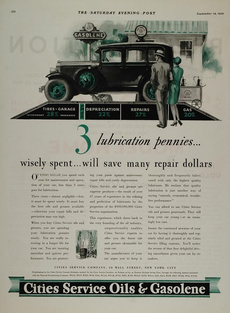 1929 Ad Cities Service Oils Gasoline 60 Wall Street NYC - ORIGINAL GAS1