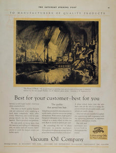 1928 Ad GARGOYLE Vacuum Oil Joseph Pennell River Work - ORIGINAL GAS1