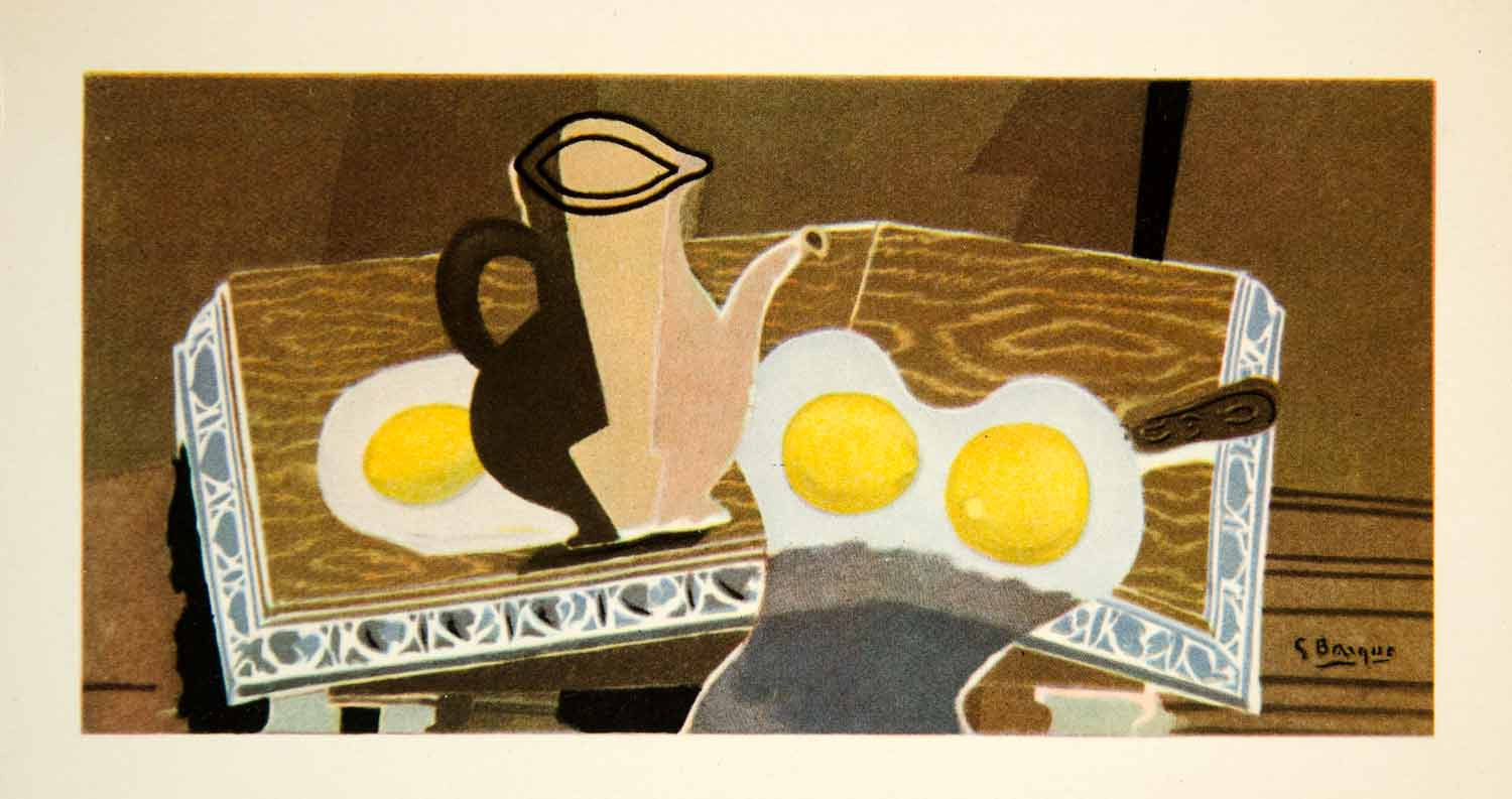1949 Photolithograph Georges Braque Trois Citrons Three Lemons Still Life GBL1 - Period Paper