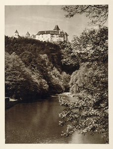 1928 Rosenburg Castle Kamp River Austria Photogravure - ORIGINAL GER1