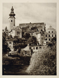 1928 Clock Tower Town Buildings Frohnleiten Austria - ORIGINAL PHOTOGRAVURE GER1