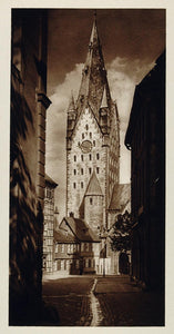 1925 Cathedral Clock Tower Domturm Paderborn Germany - ORIGINAL GER2