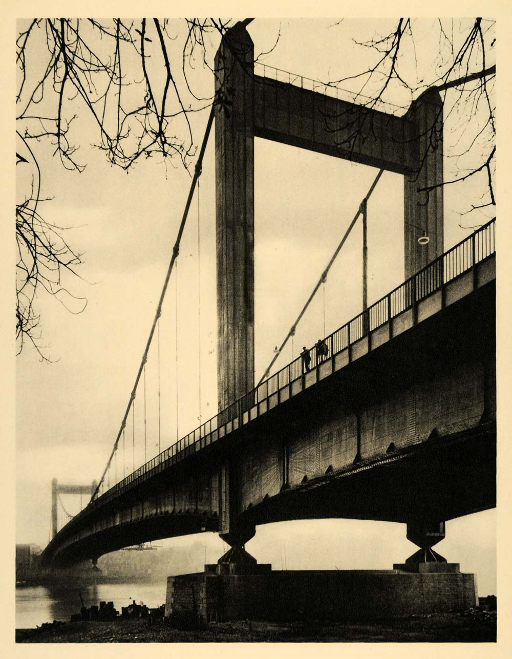1934 Cologne Mulheim Suspension Bridge Germany Rhine - ORIGINAL GER4