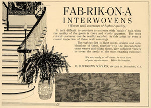 1918 Ad Fab-Rik-On-A Interwovens Wall Coverings Wiggins - ORIGINAL GF1