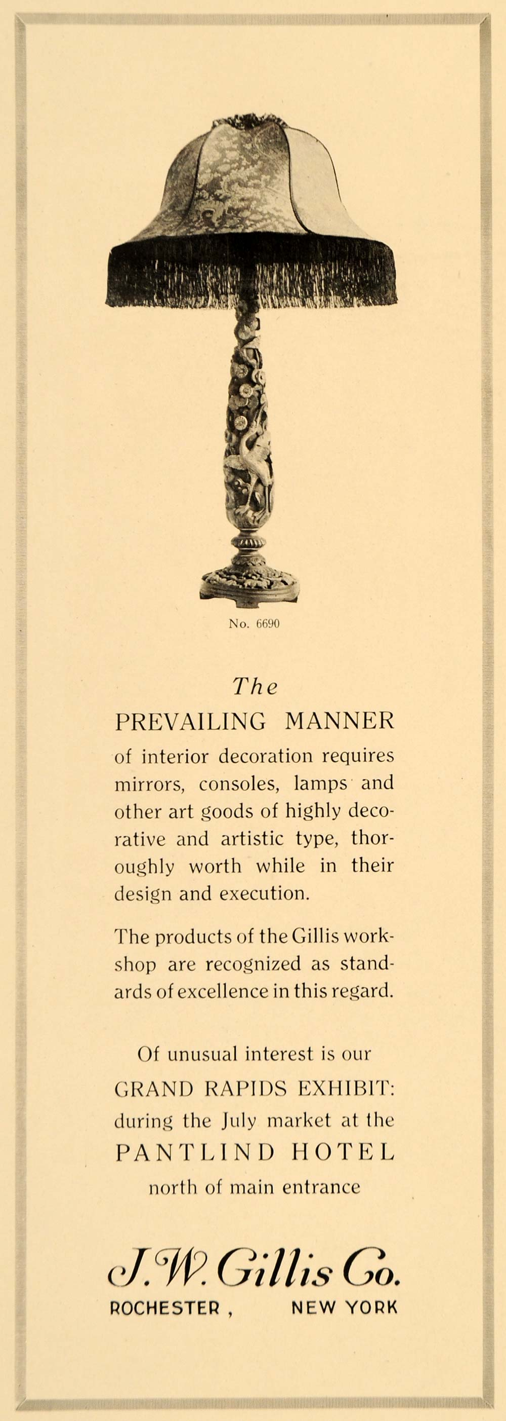 1918 Ad Table Lamp Light Fixture Gillis Home Decoration - ORIGINAL GF1