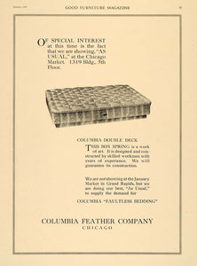 1920 Ad Columbia Feather Chicago Box Spring Bedding - ORIGINAL ADVERTISING GF1