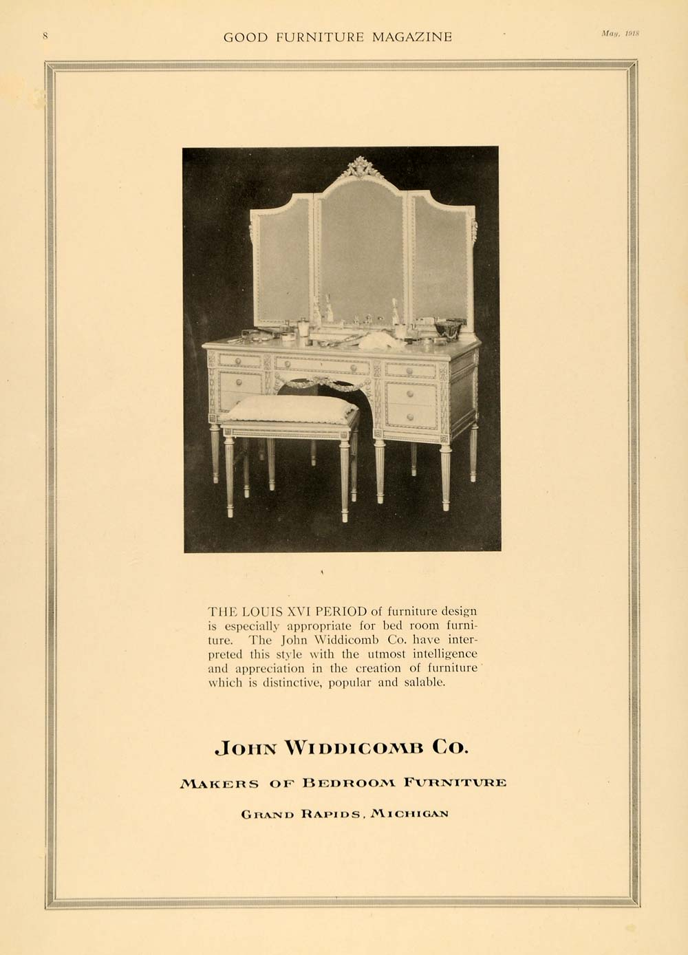 1918 Ad John Widdicomb Bedroom Furniture Louis XVI - ORIGINAL ADVERTISING  GF1