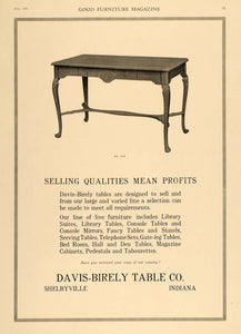 1918 Ad Davis-Birely Wood Table Tabourette Shelbyville - ORIGINAL GF1