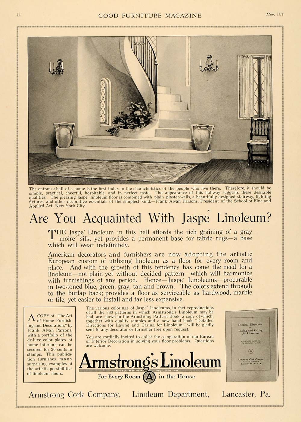 1918 Ad Armstrong Home Jaspe Linoleum Staircase Furnish - ORIGINAL GF1