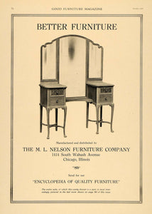 1919 Ad M. L. Nelson Furniture Woodwork Dresser Chicago - ORIGINAL GF1