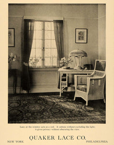 1919 Ad Quaker Lace Curtains Sitting Room Wicker Chair - ORIGINAL GF1