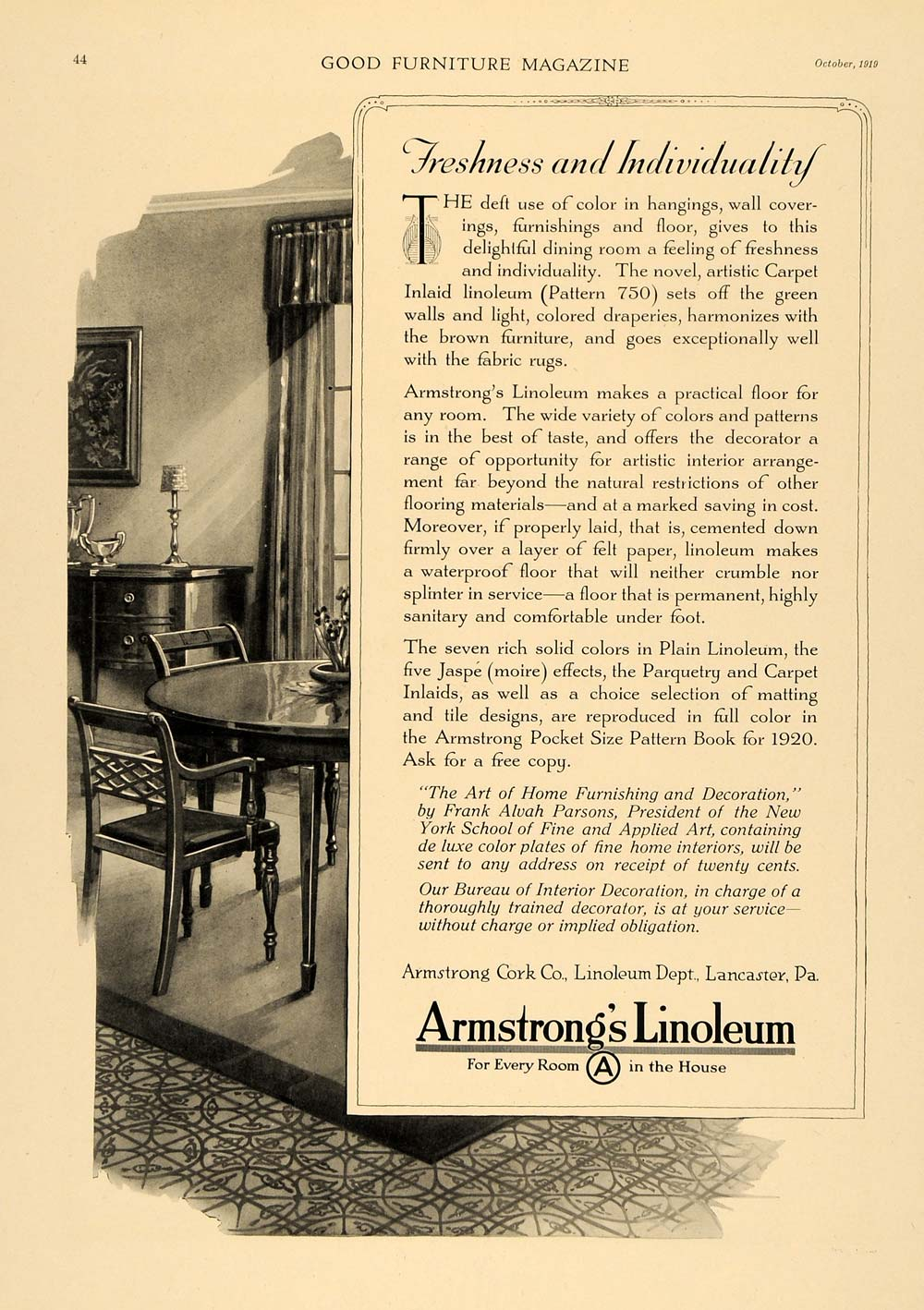 1919 Ad Armstrong Linoleum Jaspe Partquetry Inlaid - ORIGINAL ADVERTISING GF1
