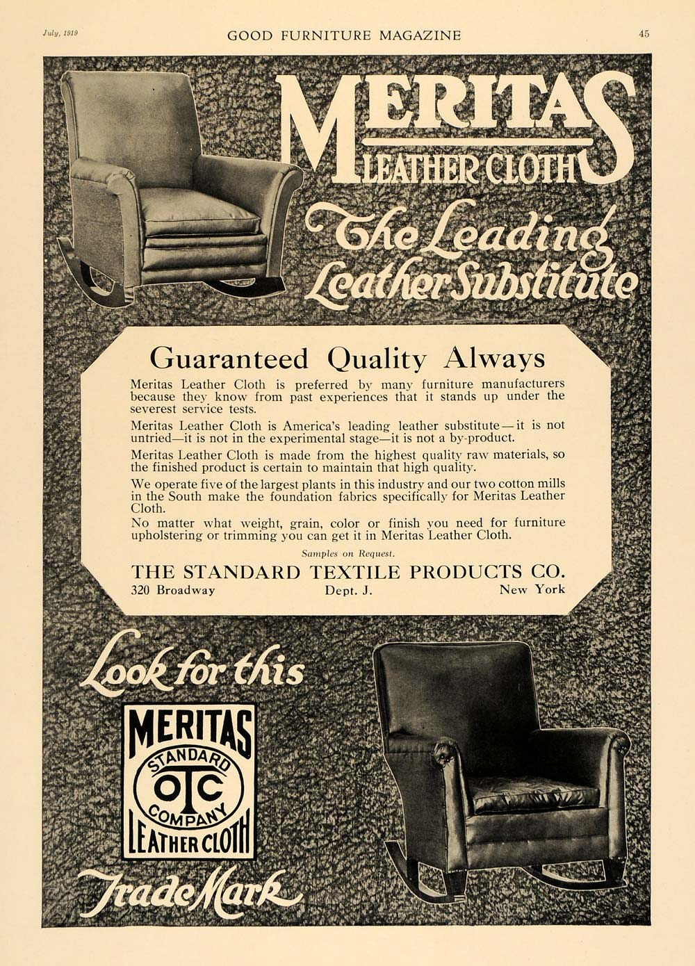 1919 Ad Standard Textile Products Meritas Leather Cloth - ORIGINAL GF1