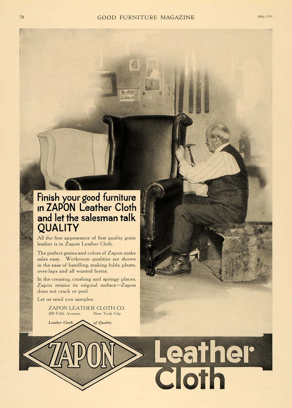 1919 Ad Zapon Leather Cloth Craftsman Armchair Finish - ORIGINAL ADVERTISING GF1