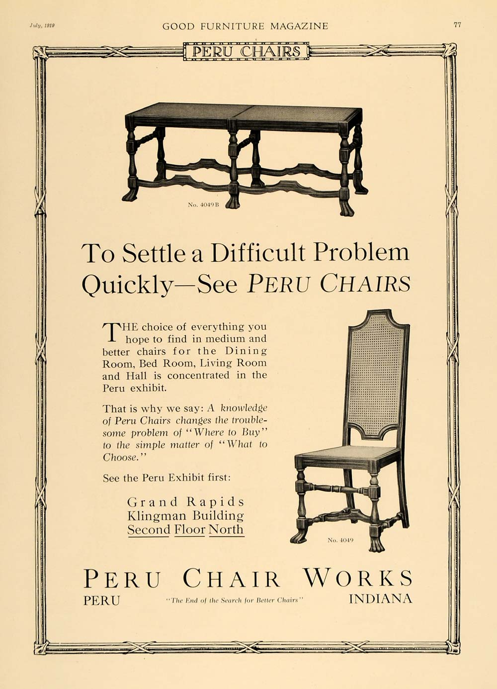 1919 Ad Peru Chair Works Wooden Table Klingman Showroom - ORIGINAL GF1