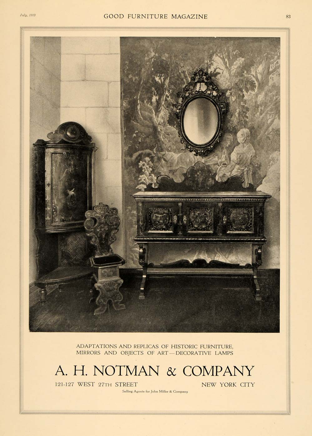 1919 Ad A. H. Notman Sitting Room Wood Cabinets Mirror - ORIGINAL GF1