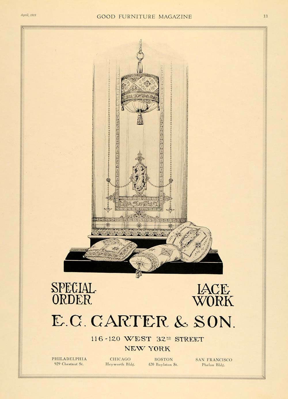 1919 Ad E. C. Carter Lace Indian Ornate Pillows Lamp - ORIGINAL ADVERTISING GF1