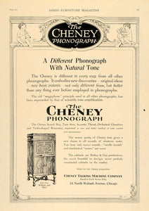 1919 Ad Cheney Phonographs Wooden Cabinets William Mary - ORIGINAL GF1