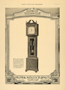 1920 Ad Colonial Manufacturing Floor Stand Clocks - ORIGINAL ADVERTISING GF1