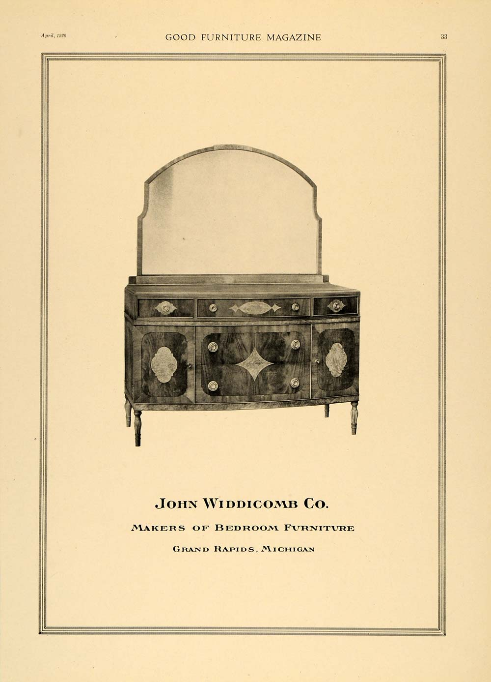 1920 Ad John Widdicomb Co. Bedroom Furniture Dresser - ORIGINAL ADVERTISING  GF1