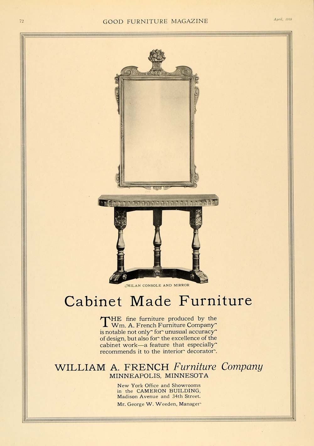 1918 Ad Milan Console Mirror William A French Furniture - ORIGINAL GF1