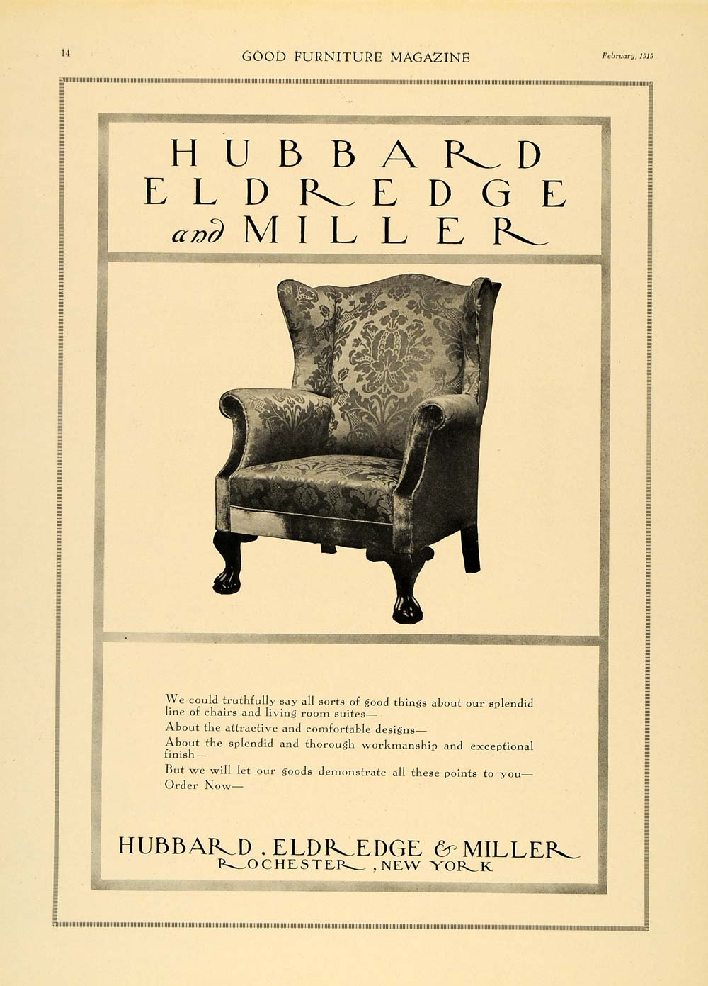 1919 Ad Hubbard Eldredge Miller Furniture Armchair Deco - ORIGINAL GF1