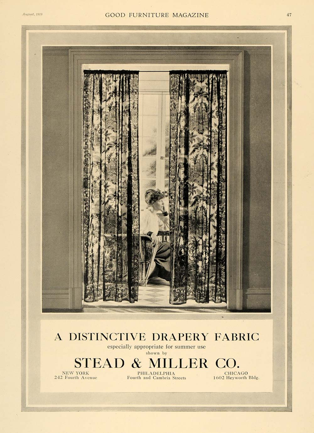 1919 Ad Stead & Miller Drapery Fabric Curtains Decor - ORIGINAL ADVERTISING GF1