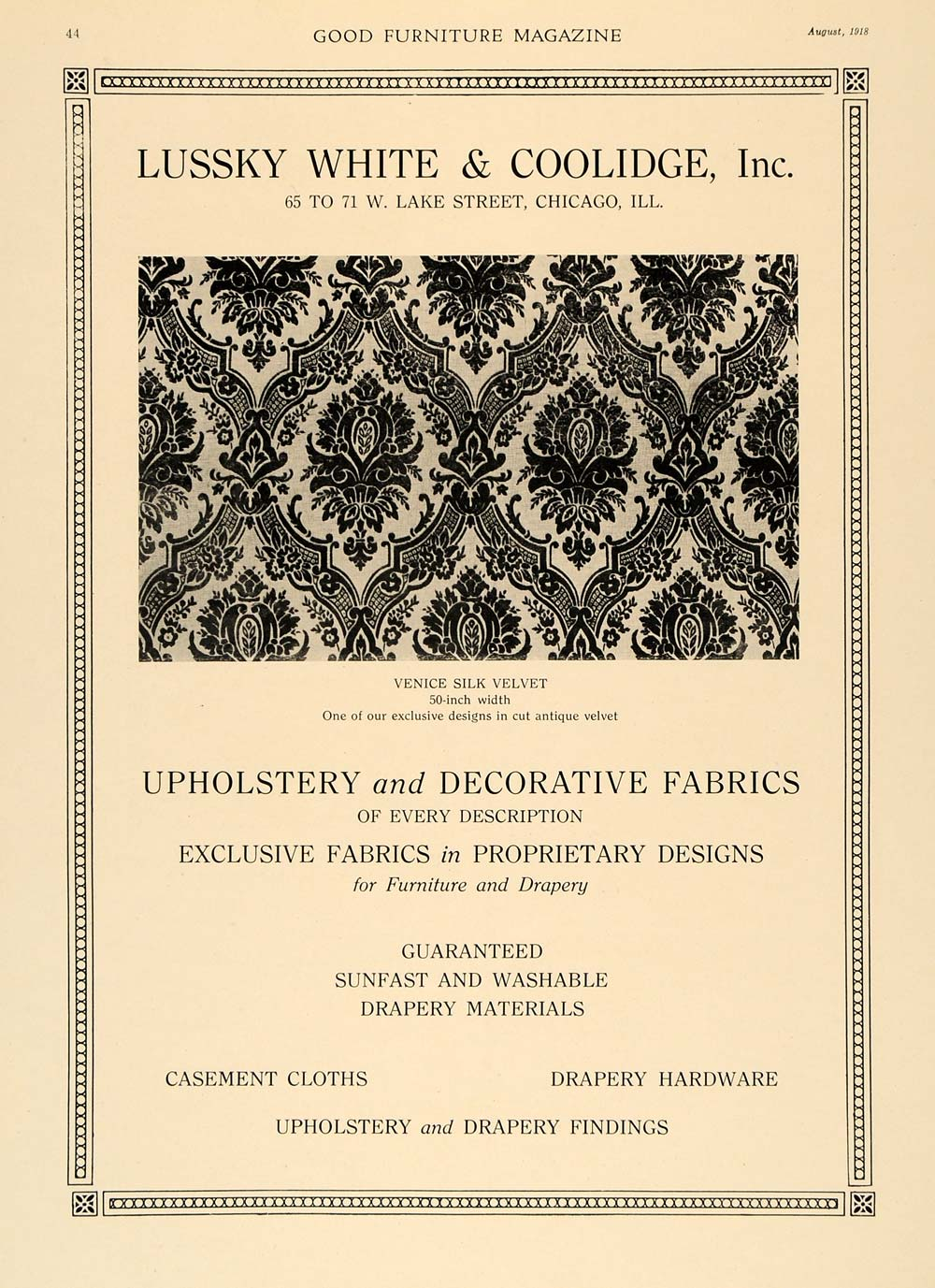 1918 Ad Lussky White Coolidge Pattern Design Upholstery Fabric Home Decor GF1