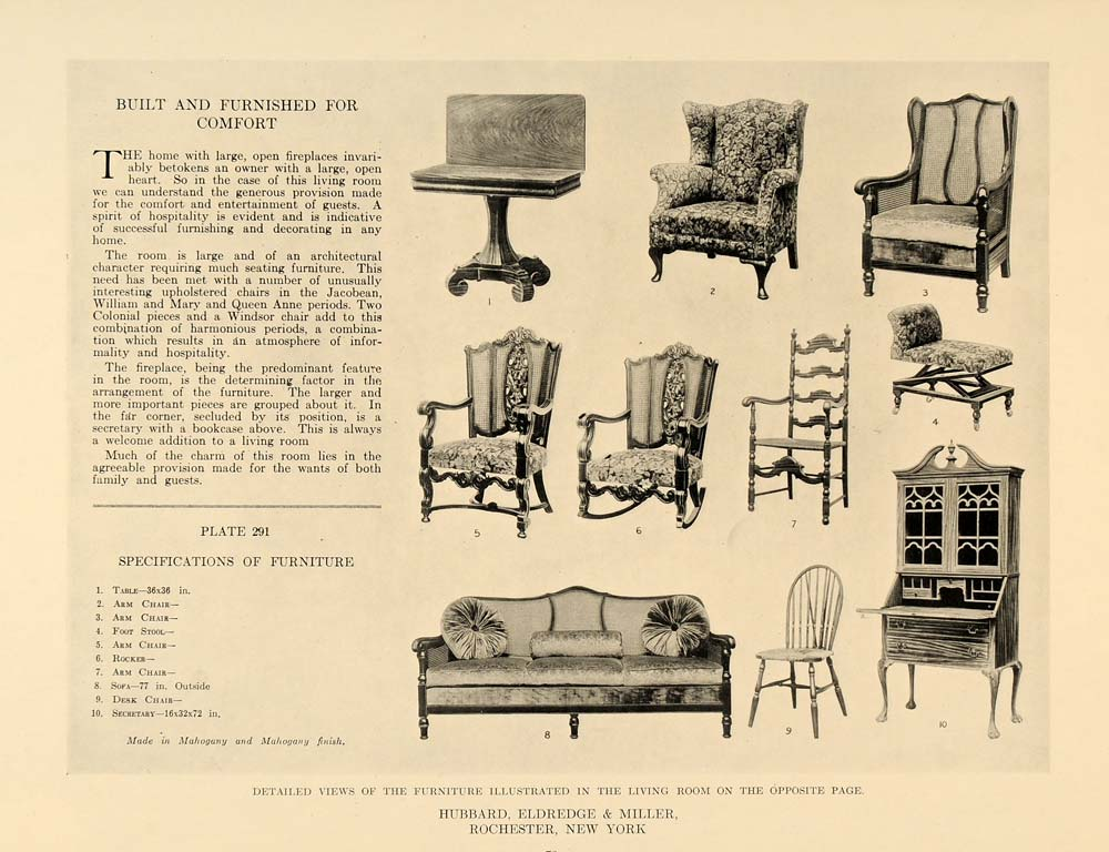 1918 Print Hubbard Eldredge Miller Furniture Jacobean ORIGINAL HISTORIC GF1