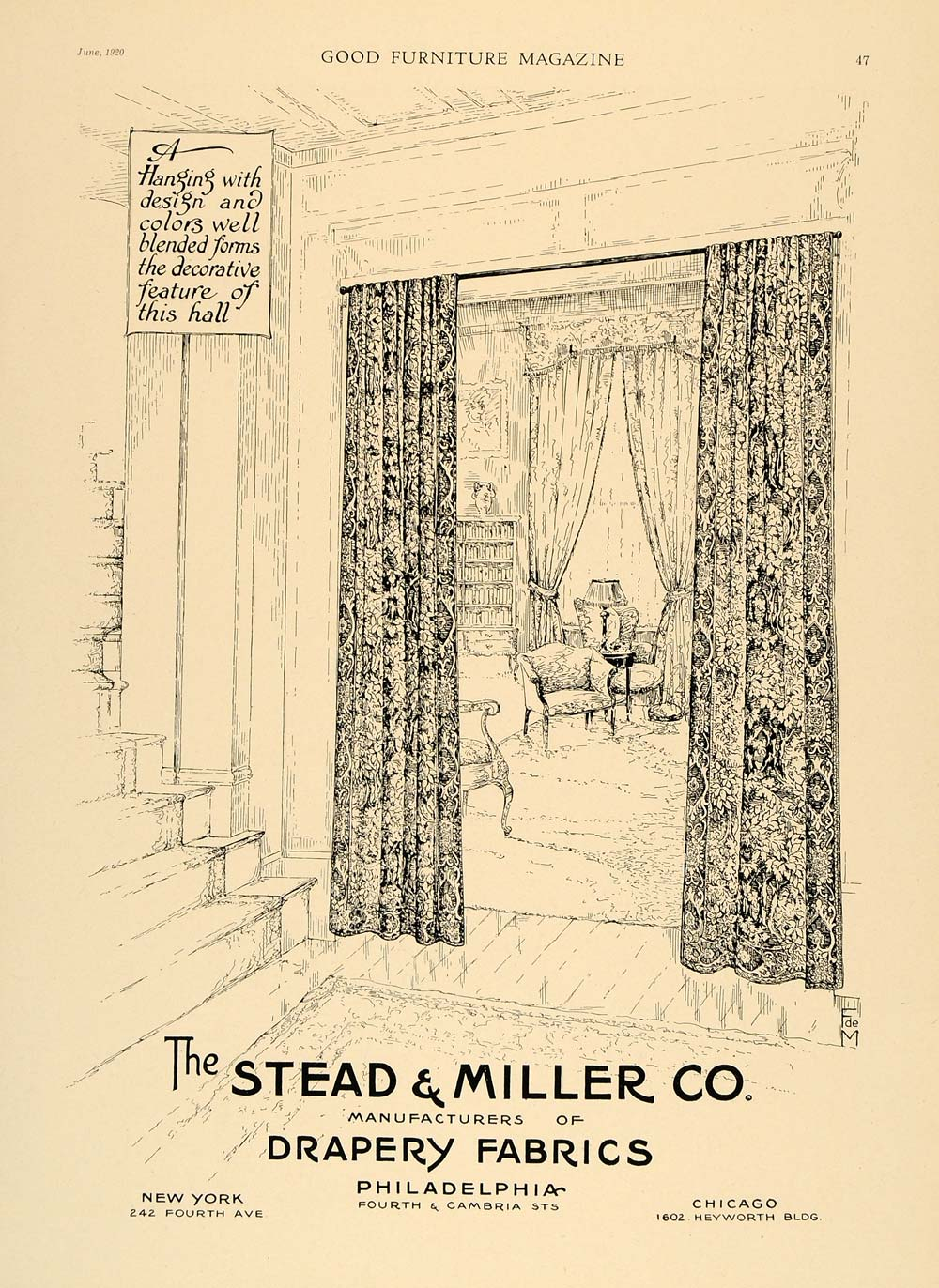 1920 Ad Stead & Miller Drapery Fabrics Curtains Decor - ORIGINAL ADVERTISING GF1
