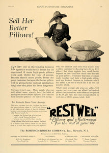 1920 Ad Robinson-Roders Restwel Bedding Pillows Decor - ORIGINAL ADVERTISING GF1