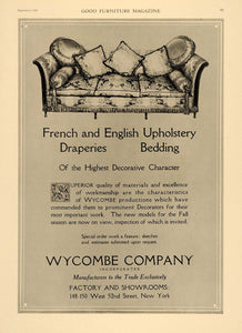 1919 Ad Wycombe French English Upholdery Drapery Bed - ORIGINAL ADVERTISING GF2