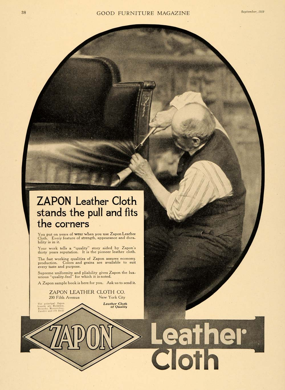 1919 Ad Zapon Leather Cloth Man Upholstering Chair NY - ORIGINAL ADVERTISING GF2