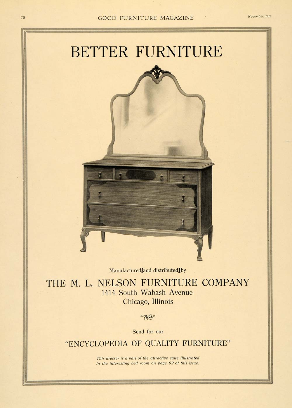 1919 Ad M. L. Nelson Furniture Bedroom Dressing Table - ORIGINAL ADVERTISING GF2
