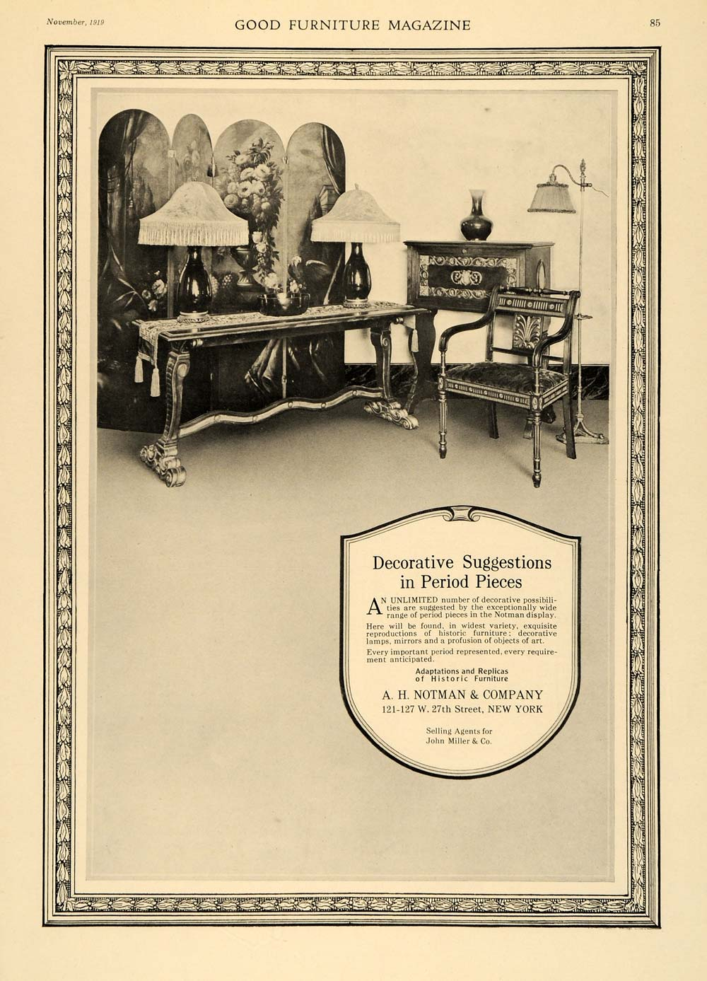 1919 Ad A. H. Notman Period Replica Furniture Pieces - ORIGINAL ADVERTISING GF2