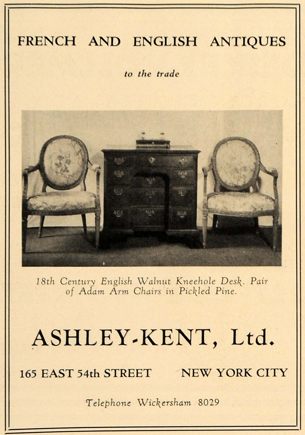 1930 Ad Ashley-Kent 18th Cent English French Antiques - ORIGINAL ADVERTISING GF2