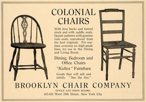 1918 Ad Brooklyn Colonial Chairs Kaltex Furniture NY - ORIGINAL ADVERTISING GF2