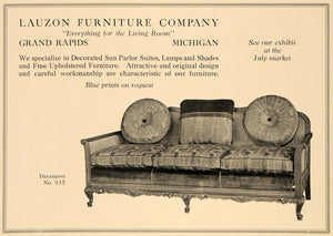 1918 Ad Lauzon Furniture Davenport No. 935 Grand Rapids - ORIGINAL GF2