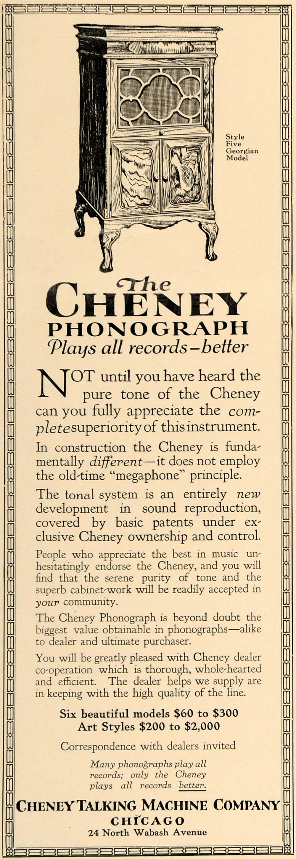 1918 Ad Cheney Phonograph Style 5 Georgian Model IL - ORIGINAL ADVERTISING GF2
