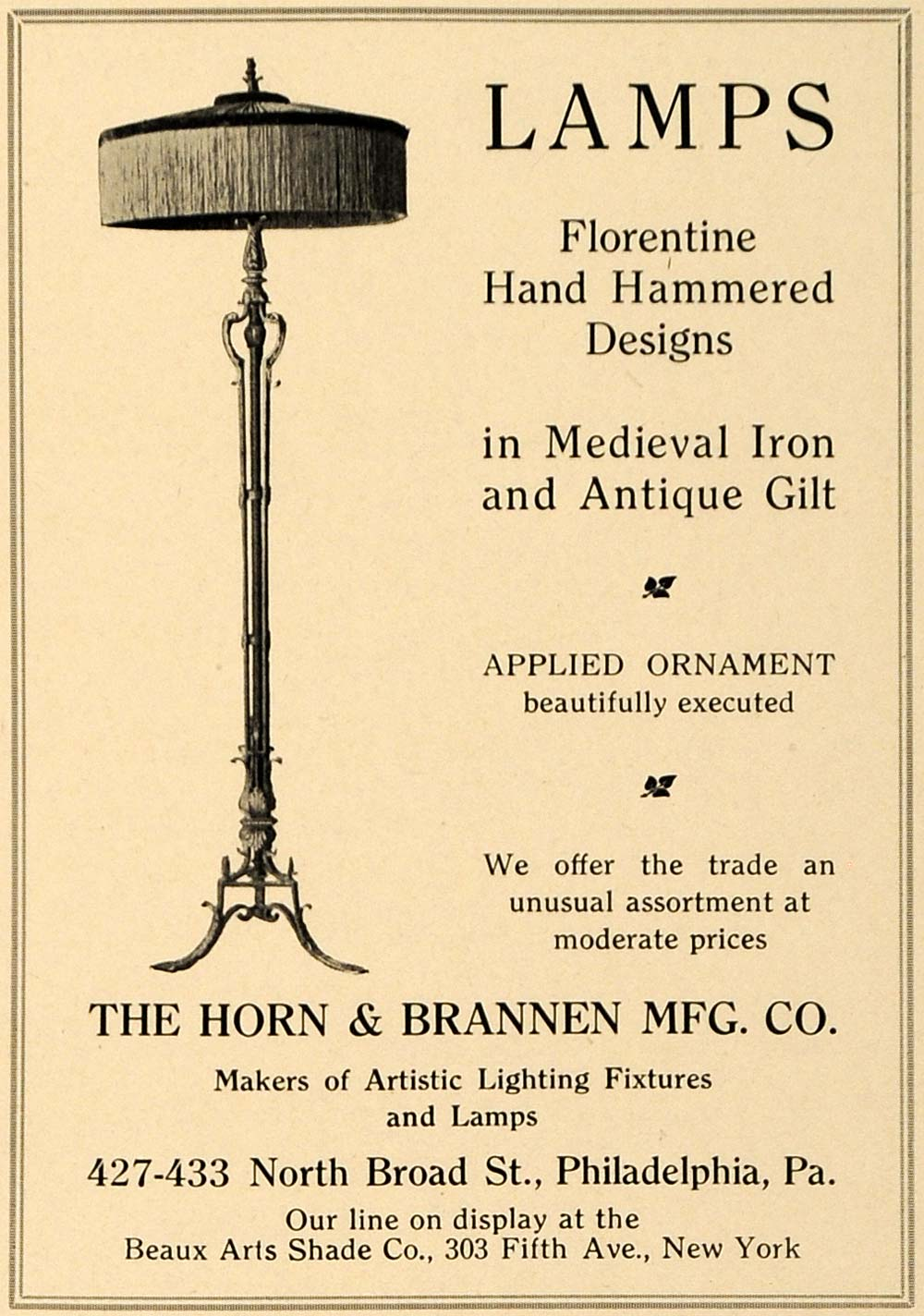 1919 Ad Horn Brannen Florentine Hand-Hammered Lamps - ORIGINAL ADVERTISING GF2