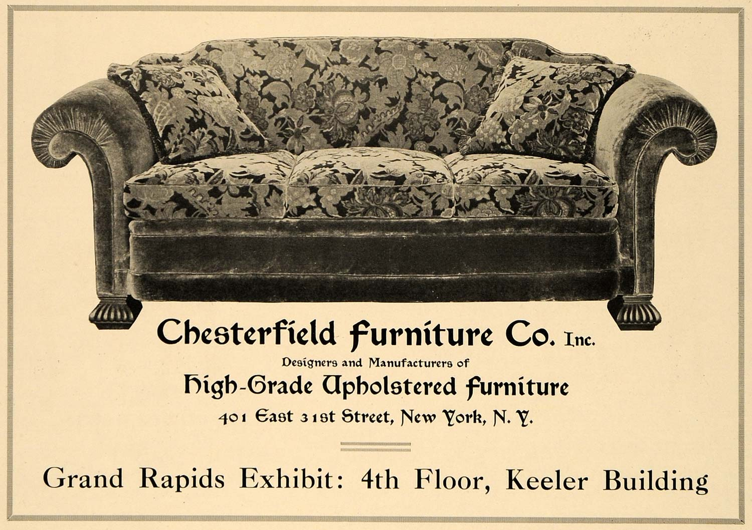 Tremendous 1919 Ad Chesterfield Furniture Co Upholstered Sofa Original Advertising Gf2 Unemploymentrelief Wooden Chair Designs For Living Room Unemploymentrelieforg