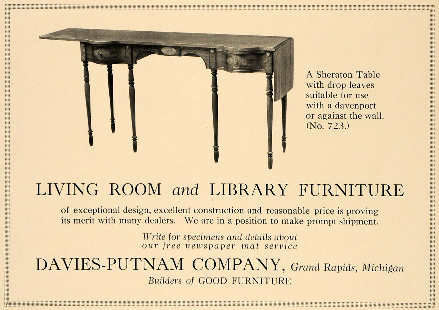 1918 Ad Davies-Putnam Co. Furniture Sheraton Table 723 - ORIGINAL GF2